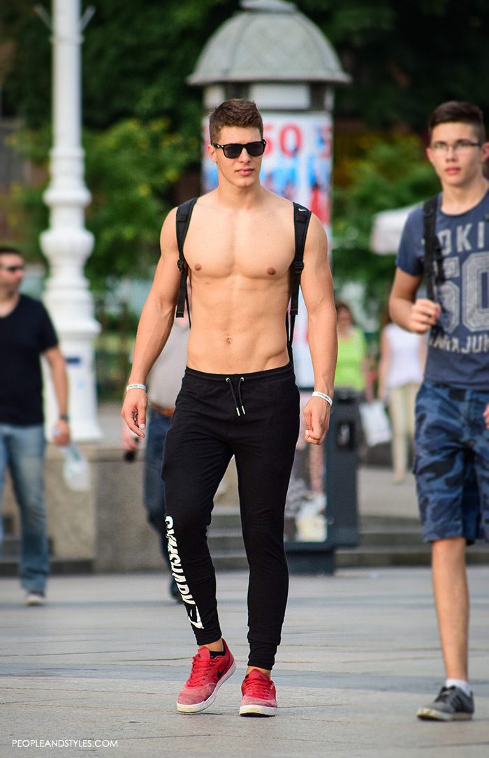 Menu0026#39;s Summer Street Style Joggers And Red Sneakers U2013 Fashion Trends And Street Style - People ...