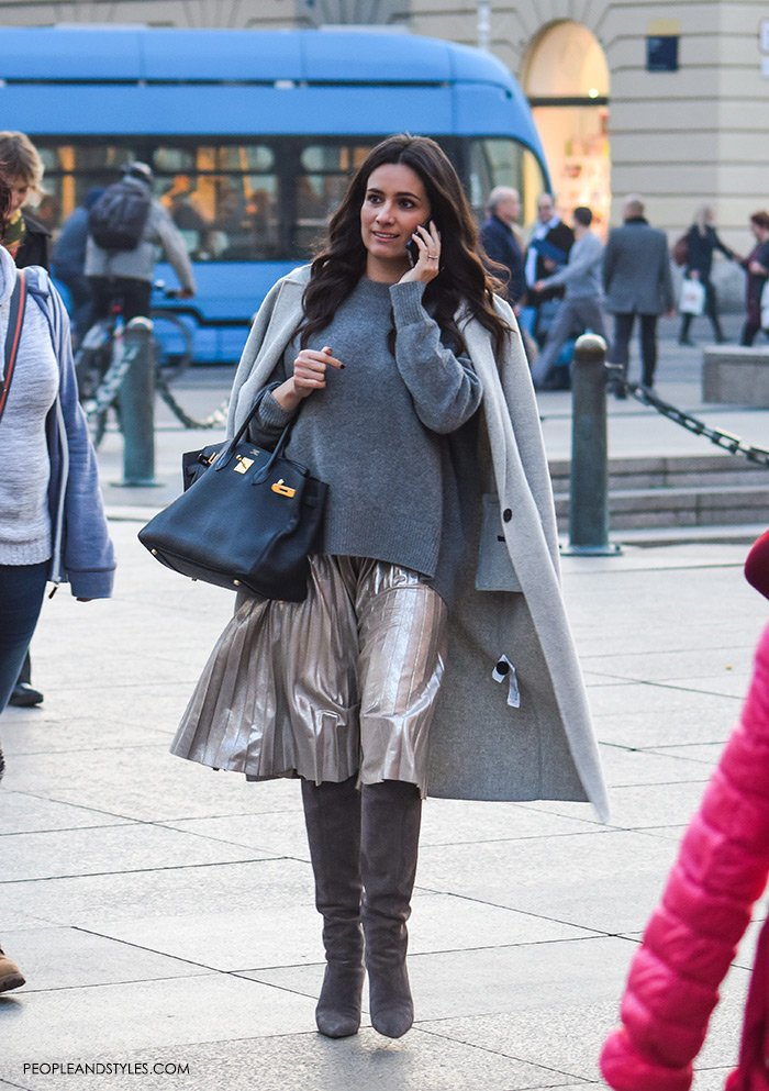 Perfect Pair: Grey Metallic Pleated Skirt and Grey Cosy Sweater, women's latest fashion style, how to wear mettalic skirt and grey boots, Max Mara designer cashmere coat, street style look pretty woman