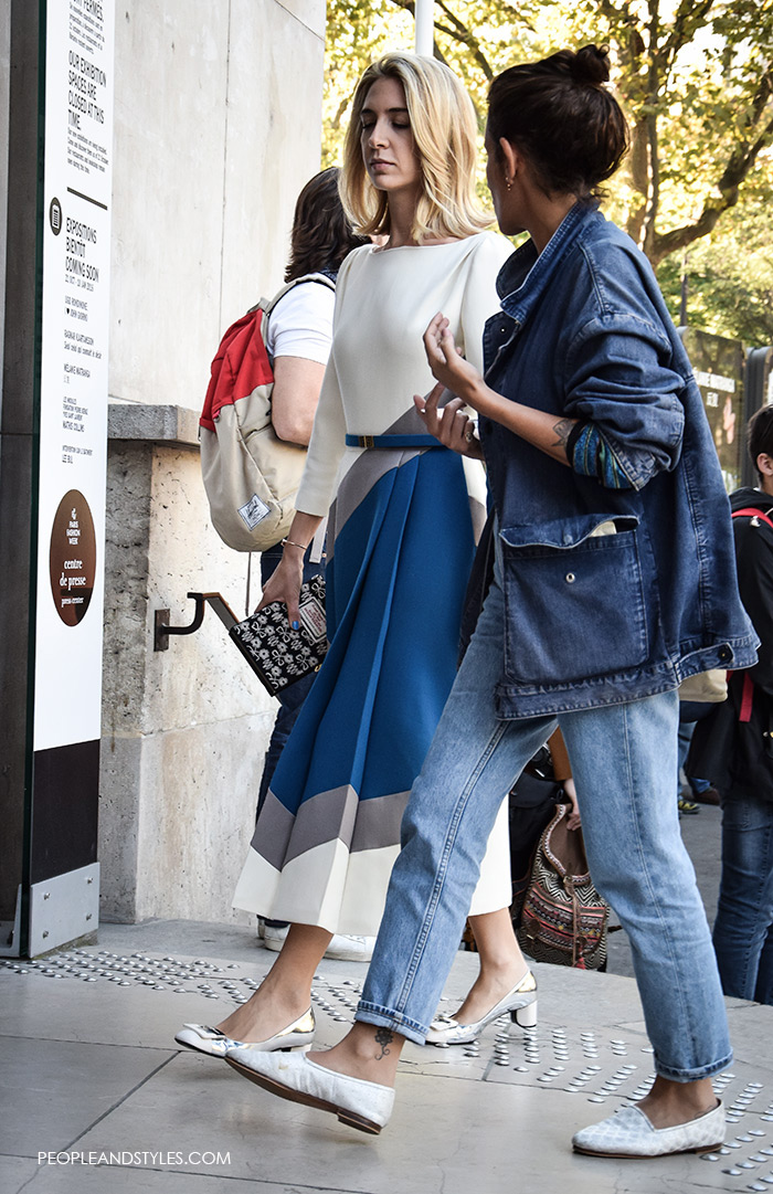 How to wear denim jacket, How to wear midi dress silver shoes Paris Fashion Week spring street style women's fashion look