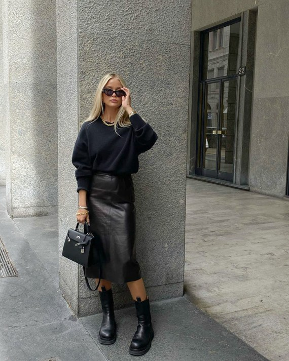 all black outfuts fall fashion woman