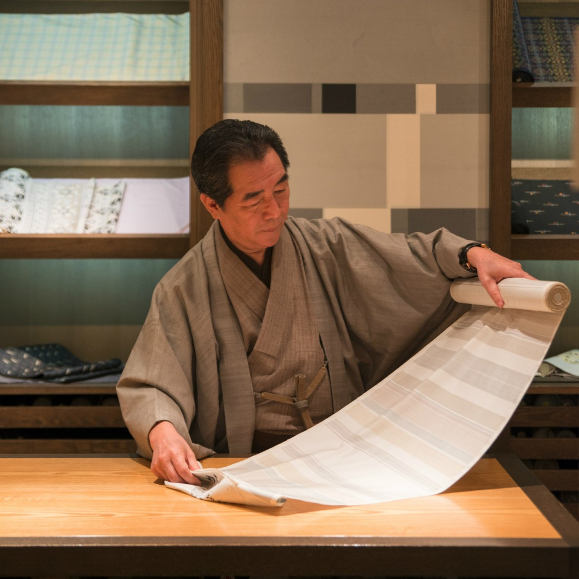 Kimono craftsmanship preserved by a gentleman of both poise and posture