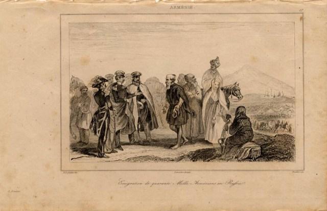 Print of Armenian emigrants in Russia 1838