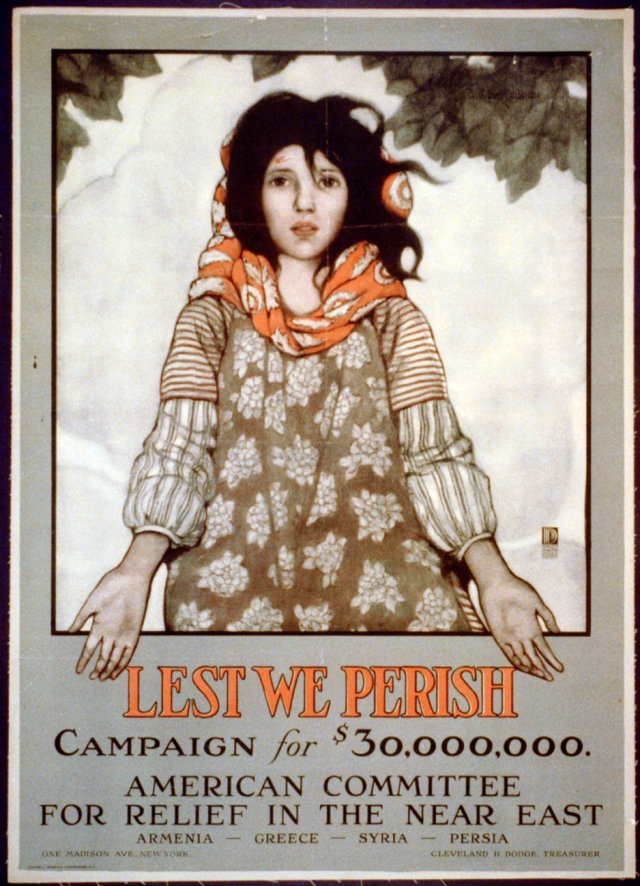 """1918 - """"Lest We Perish"""" American Committee Relief in the Near East Poster"""
