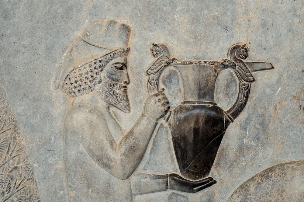Armenian Delegation baring gift of wine to Darius the Great at Persepolis (522-486 BCE).