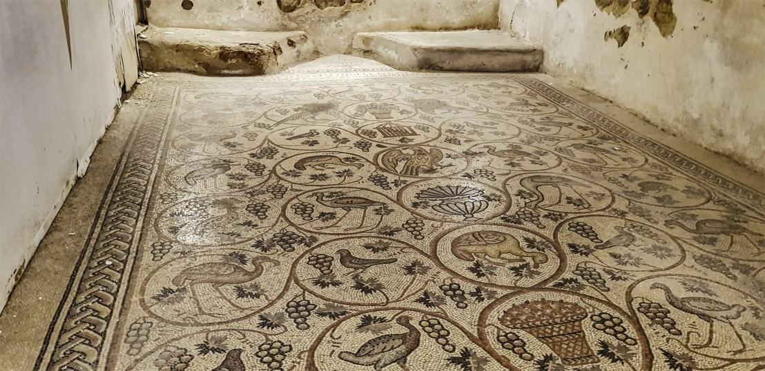 Armenian bird mosaic from Jerusalem. Dated to 5th-6th century AD.
