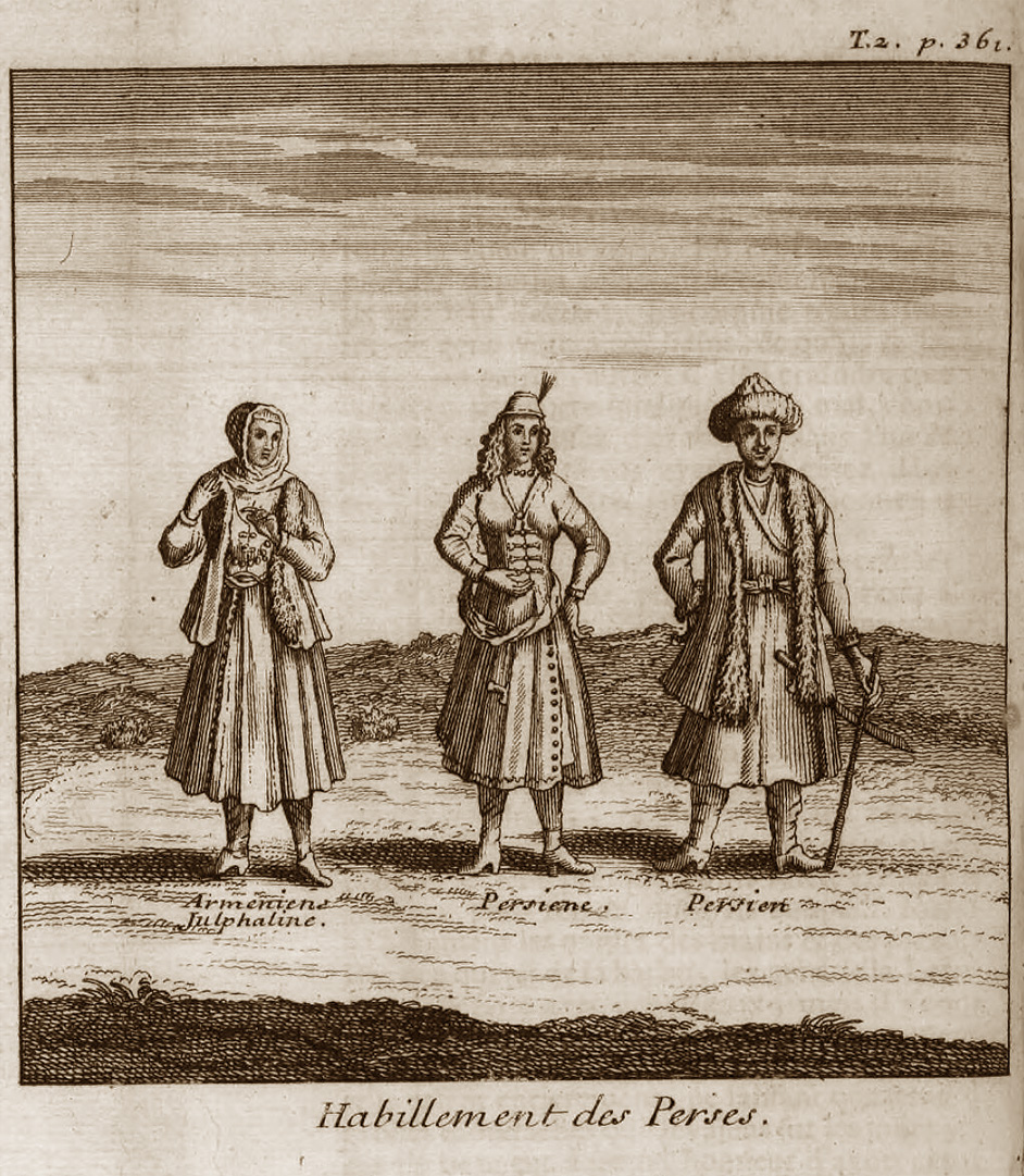 On the left-Armenian lady from Julfa (Persia) Six Voyages of Jean-Baptiste Tavernier, 1676