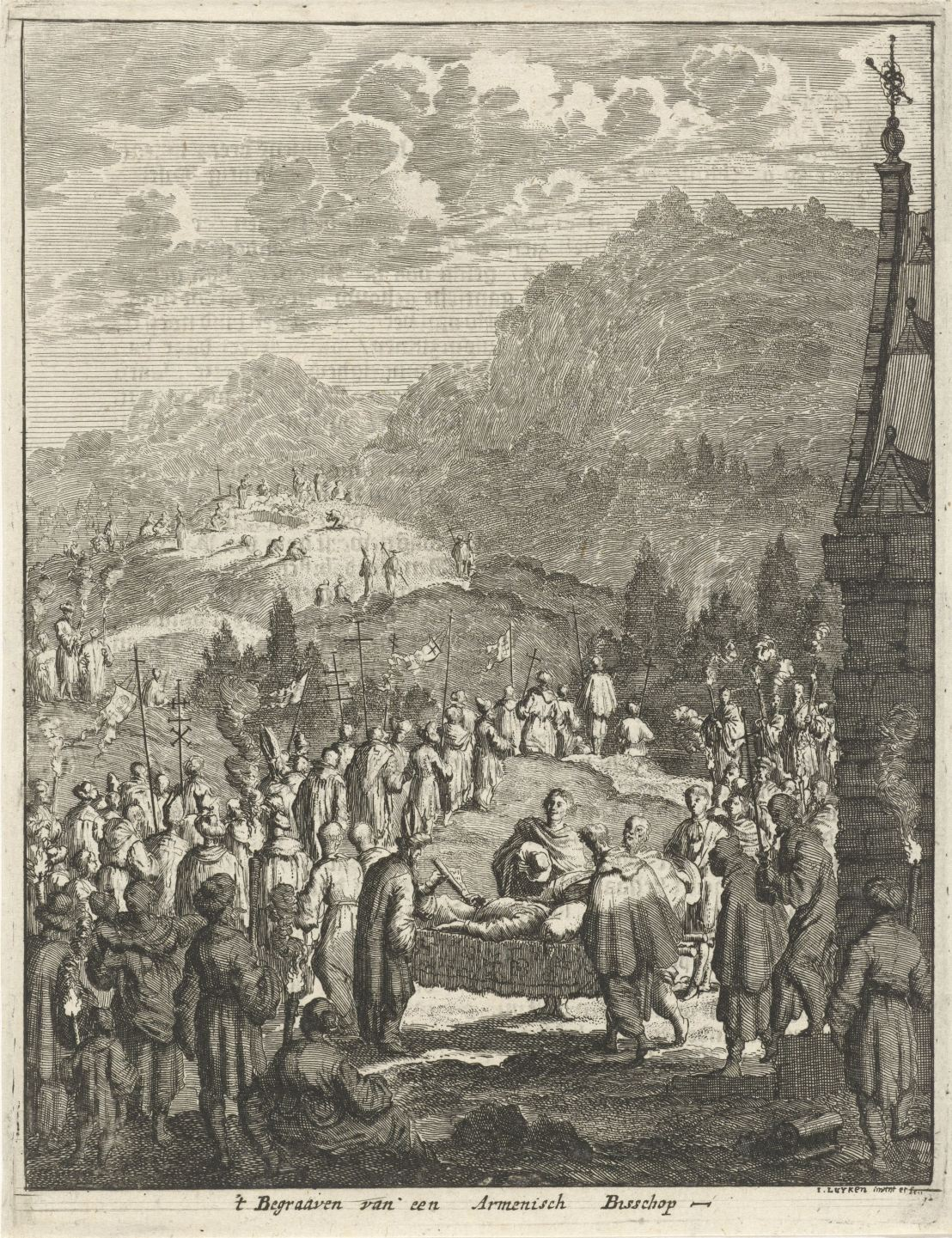 Funeral of an Armenian bishop, Jan Luyken, 1681