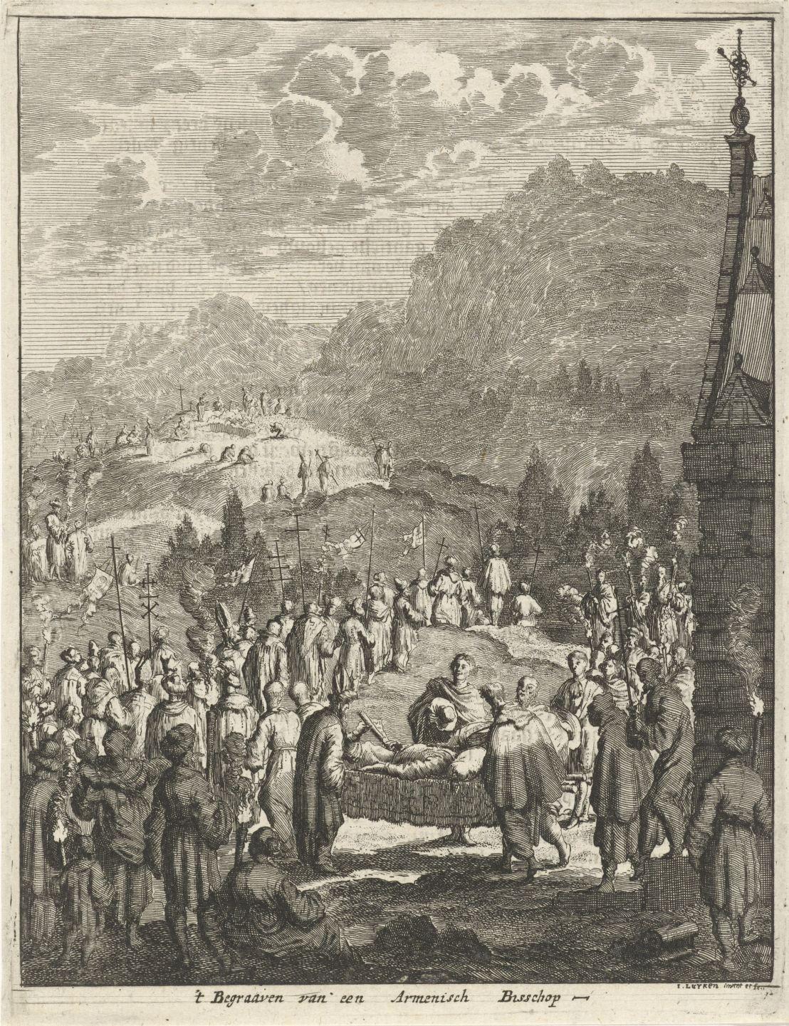 Funeral of an Armenian bishop, Jan Luyken, 1681