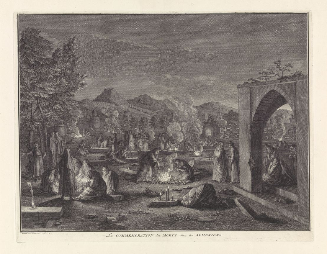 Remembering of the dead by the Christian Armenian, Bernard Picart 1710-1730
