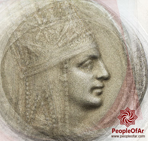 Average Face of Tigranes The Great composed of 45 different coins with his depictions