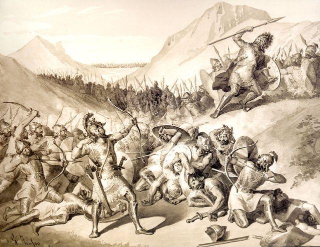 Legendary Armenian Patriarch Hayk defeating Bel king of Babylon - Juliano-Zasso (1833-1889)