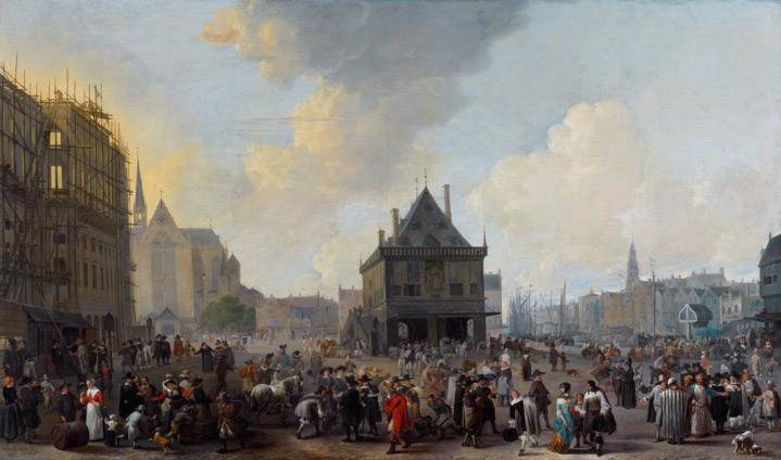 Johannes Lingelbach, Gezicht op de Dam (1656) – with Armenian Merchants, in the lower right corner