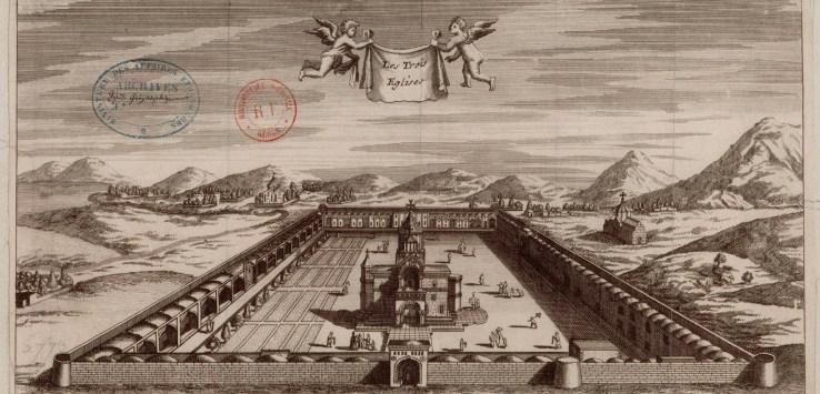 Echmiadzin (three churches) Illustration from Six Voyages of Jean-Baptiste Tavernier, 1676