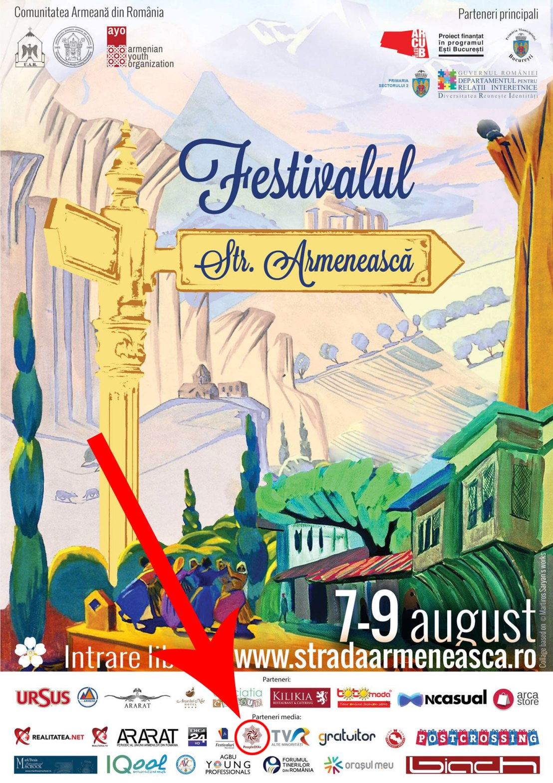 PeopleOfAr logo on the Poster of the Armenian Street Festival in Bucharest, Romania