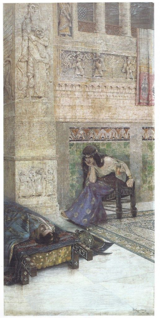 Semiramis staring at the corpse of Ara the Beautiful. Painting by Vardges Sureniants (1860-1921)