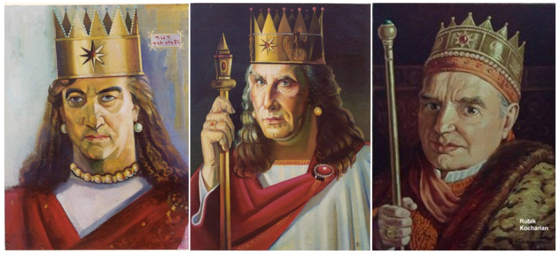 Several paintings with Artaxiad crown