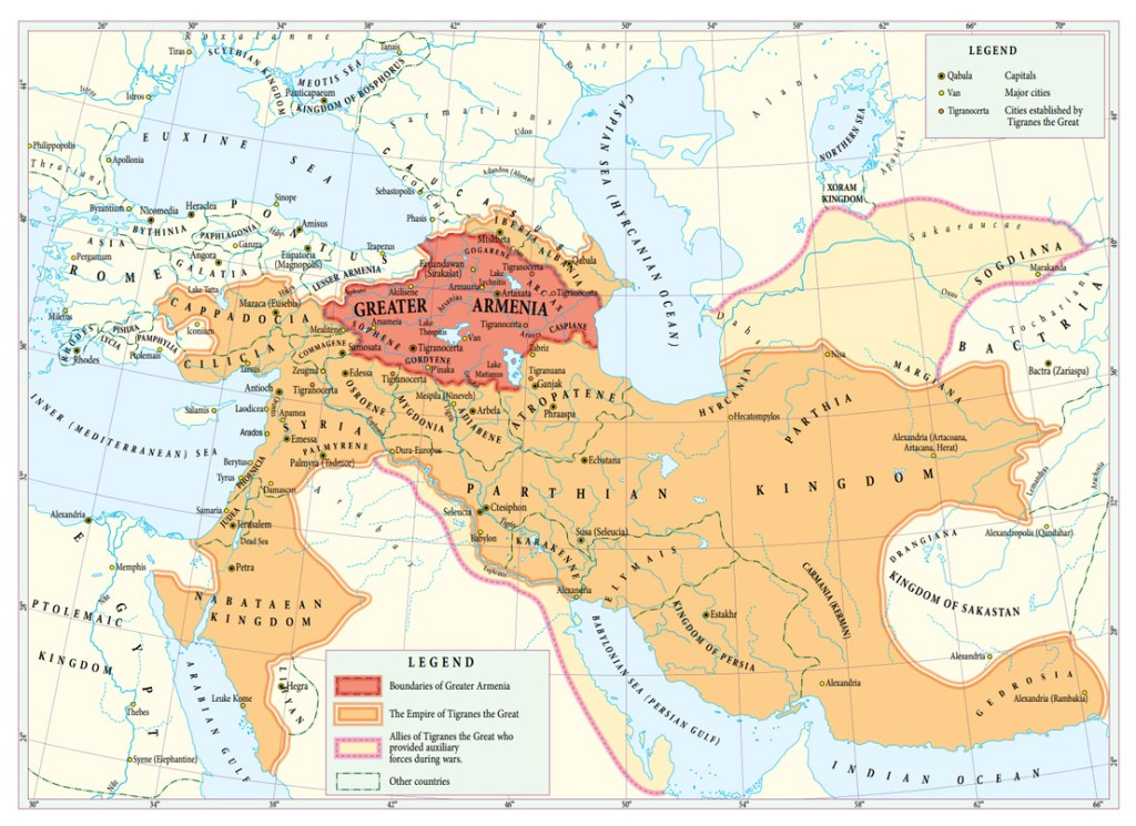 Map of Armenia at its largest - from 10 Outstanding Armenian Kings (2012) by Artak Movsisyan