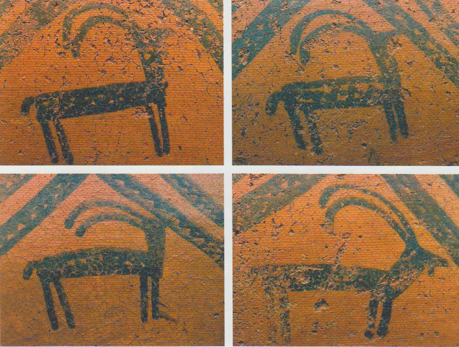 The middle Bronze Age saw an increase in herding and animal cultivation. These illustrations found on some of the superb pottery in the Nerkin Naver barrow are presumably goats.