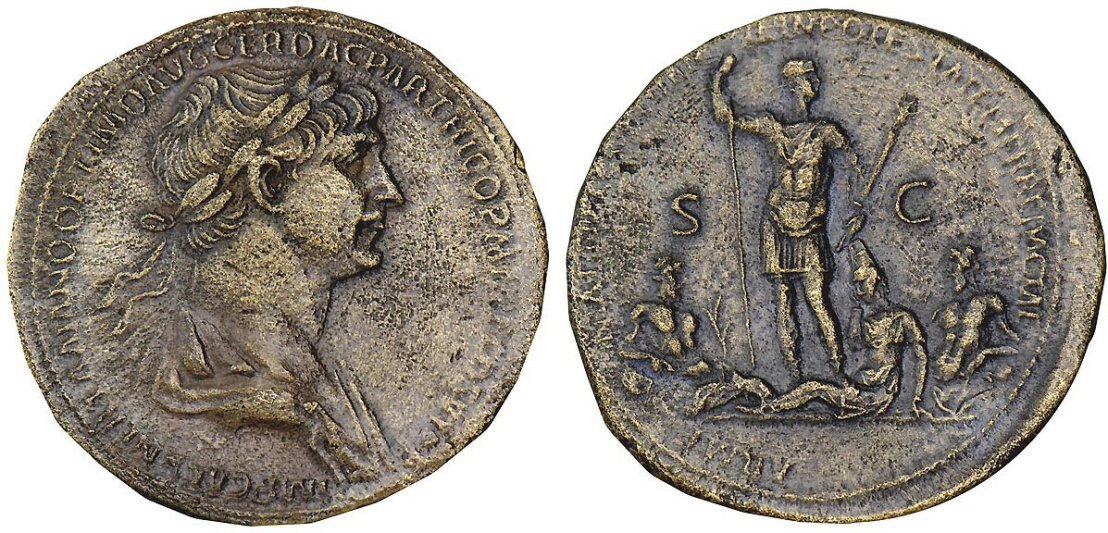 Trajan in military attire standing, head r., holding spear and parazonium, at his feet are the reclining figures of Armenia, Euphrates and Tigris referring to annexation of Armenia.