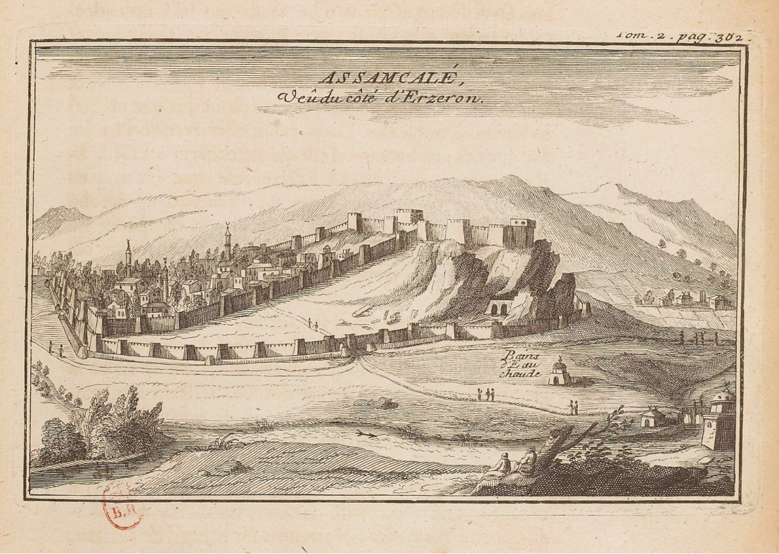 Illustration of View of Hasankale fortress from the route to Erzurum by  Joseph Pitton de Tournefort (1656-1708)