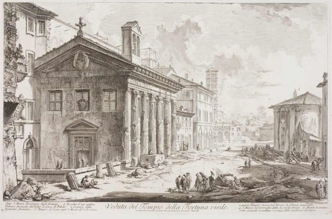 View of the Temple of Fortuna Virilis. Now the Armenian church of S. Maria Egizziaca by Giovanni Battista Piranesic. 1760-1778