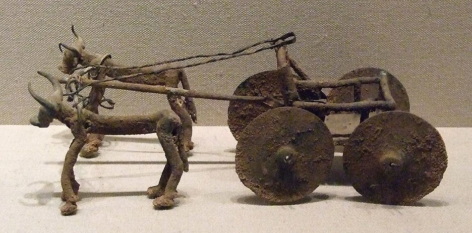 Wagon drawn by bulls. Copper. ancient Armenia. Early Bronze II-III, 2400-2000 BC