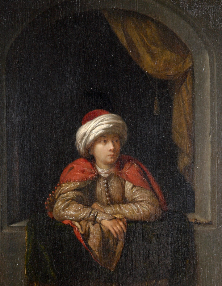 Young Armenian leaning at a Window by attributed to Caspar Netscher (Heidelberg1639 ¿ The Hague 1684)