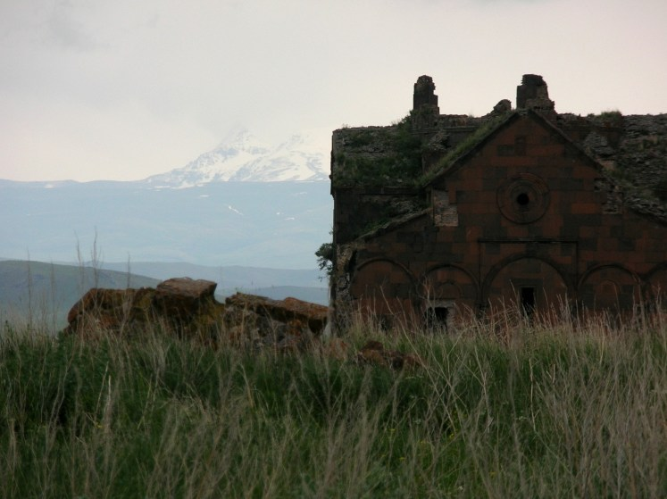 Ani cathedral with Armenia's Little Ararat in background