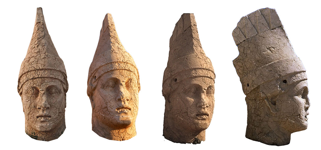 Different views of the megalithic statue of Antiochus I Theos at mount Nemrut