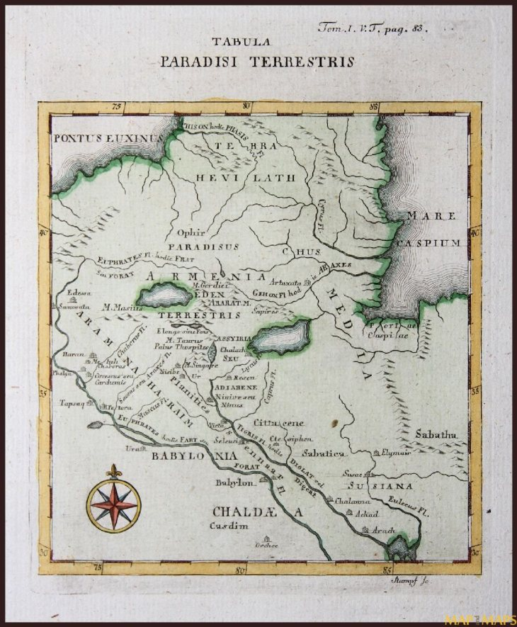 Antique map of the Garden of Eden by Calmet - 1789
