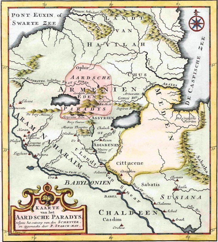 Antique map of the Paradise, Huet Stark-man, 1725 'Kaarte van Het Aardsche Paradys'
