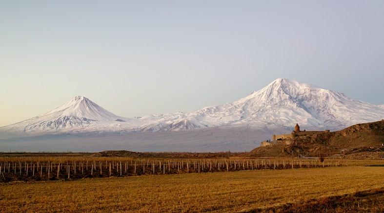 Ararat twin peaks and medieval Khor Virap Monastery