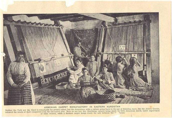 Armenian girls weaving carpets 1920