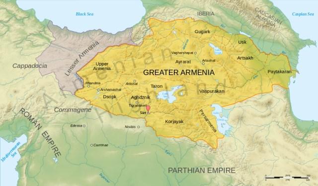 Greater Armenia and Lesser Armenia map