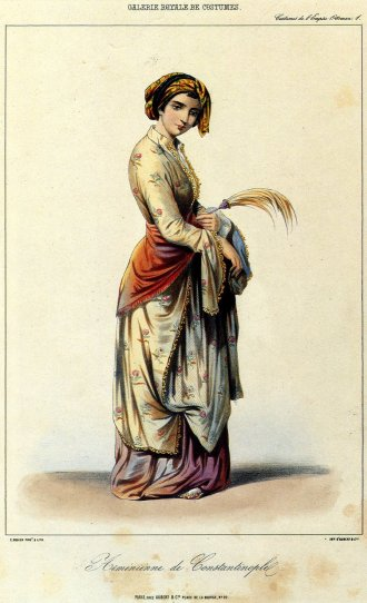 Armenian lady of Constantinople (1850 from the European lithography, by Janeta Lanzh (publication, Eugéne Flandin)