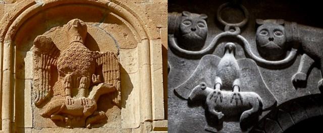 Bagratuni flag symbols on  Noravank and Geghard monasteries
