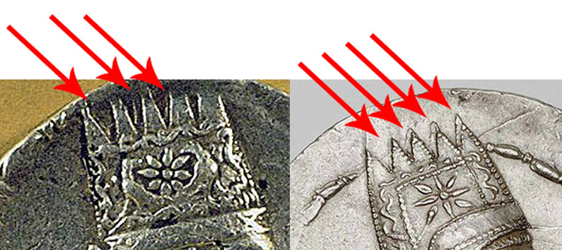 Coin of Tigranes and Artavasdes seem to show rays on the backside of the crown suggesting a cylindrical form.