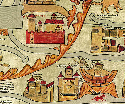 Noahs ark in the mountains of Armenia depicted on the 13th century worldmap, Ebstorfer mappamundi.