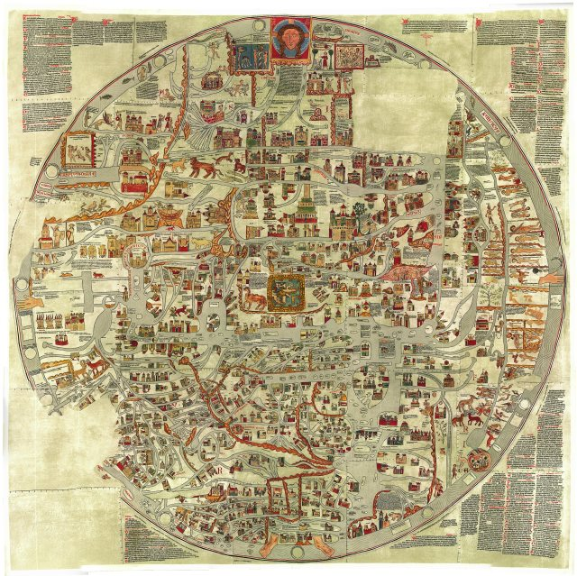 "The Ebstorf mappamundi was drawn in 13th century Saxony and depicts the Christian worldview within the body of a crucified Christ. The map illustrates both the ""known world"" as well as significant landmarks and points of interest for the curious pilgrim."