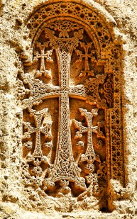 Armenian cross-stone on 4th century monastery Geghard.