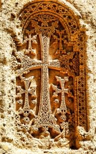 Armenian cross-stone on 4th century monastery Geghard.