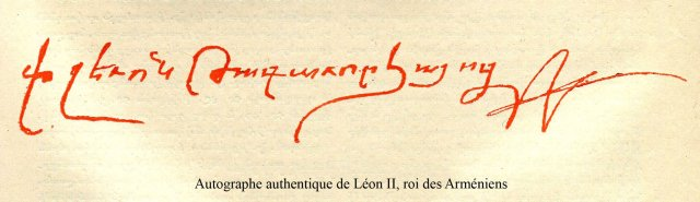 Genuine authograph of Leo II King of Armenia