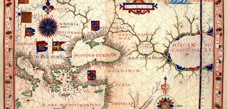 Map of Near East – Fernão Vaz Dourado 1570. Nautical chart of Portuguese cartographer Fernão Vaz Dourado (c. 1520 – c. 1580), part of a nautical atlas drawn in 1570 and now kept in the Huntington Library, San Marino, USA.
