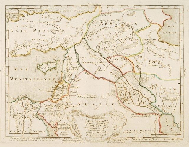 """Fine map of the Middle East, including the Holy Land, Cyprus, Iran and Irak, etc. Philippe Buache was one of the most active proponents of the so-called """"school of theoretical cartography"""" active in mid-18th century France. Published by Dezauche and engraved by Marie F. Duval."""