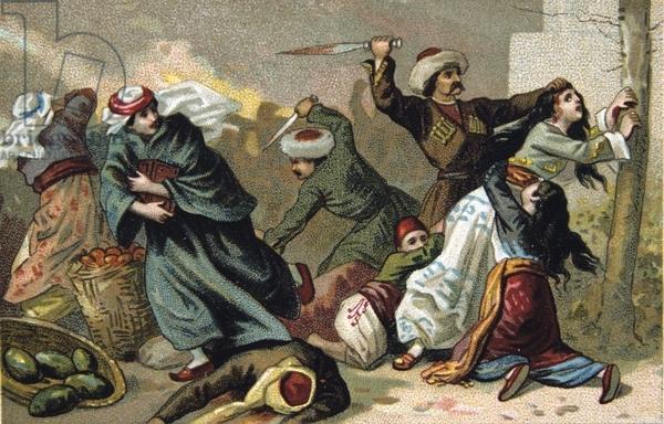 Massacre of Armenians by Ottoman Turks under Abdul Hamid, 1895-1896. Armenian inhabitants of Akhisar, having their throats cut. Religious Conflict Turkey Trade Card French Chromolithograph'