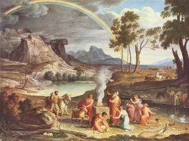 Noah sacrificing animals to the God(s)
