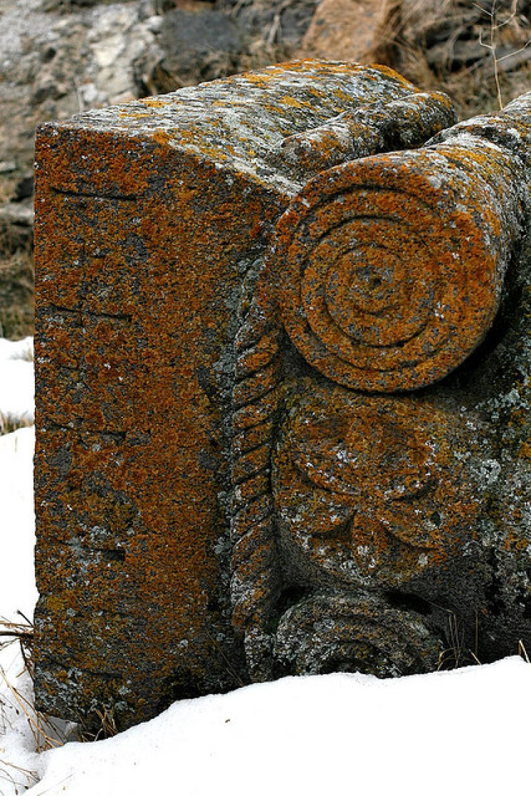 Ornamental stones of a ruined Armenian church in Ani