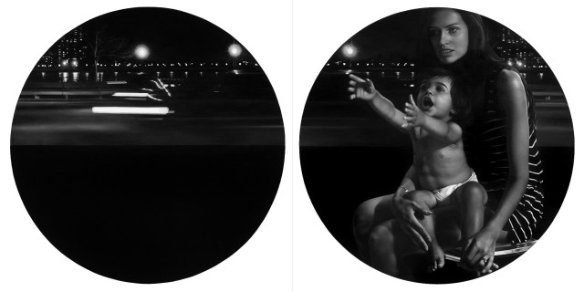 """Presence / Absence (2012) 48"""" x 96"""" / 122 x 244 cm (diptych, 48"""" x 48"""" / 122 x 122 cm each piece), oil on canvas, private collection"""