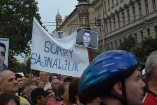 Protesters gathered in Budapest near parliament, protesting the extradition of Ramil Sahib Safarov, an Azerbaijani national who was convicted of murdering Armenian Gurgen Margarjan in Budapest in 2004