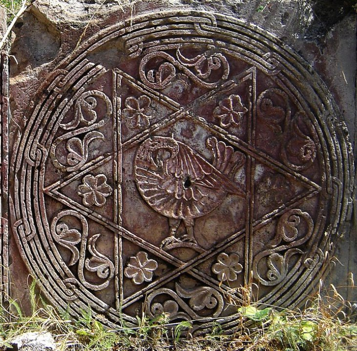 Reliefs on the ruined 12th century Teghenyats Monastery, Armenia